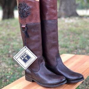 "Frye's ""melissa"" logo riding boots"